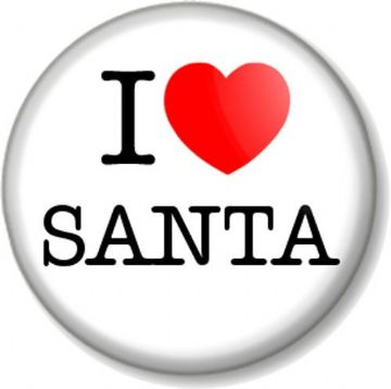 I Love / Heart SANTA Pinback Button Badge Father Christmas Claus Xmas North Pole